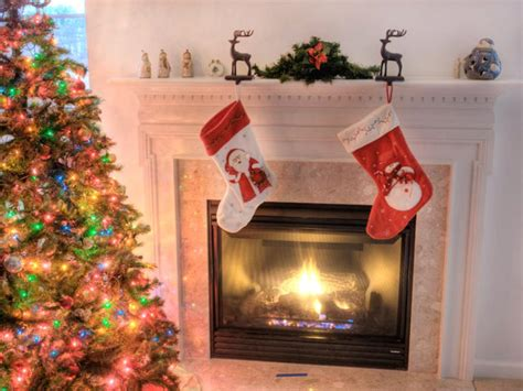 deck the fireplace with holiday decor hgtv