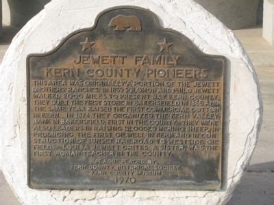 Kern County Family Search Jewett Family Kern County Pioneers Historical Marker