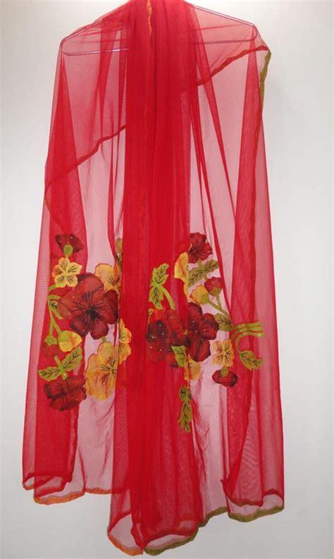 Www Handmade - scarlet handmade net scarf with phool patti