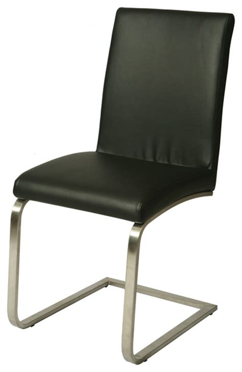 Chrome Leather Dining Chairs Pastel Monaco Side Chair Chrome Leather Touch Black Traditional Dining Chairs By
