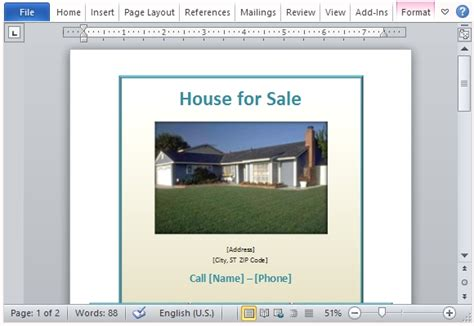 House For Sale Flyer Template For Word House For Sale Ad Template