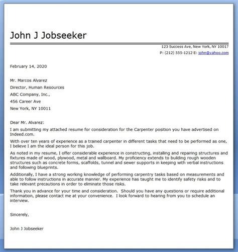 Carpenter Cover Letter Exles carpenter cover letter for resume resume downloads