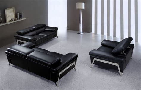 black sofa set encore modern black leather sofa set