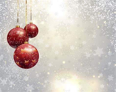 silver christmas background with red baubles vector free