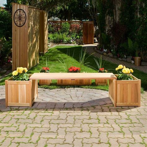 bench with flower box all things cedar plb60u 3p 3 piece planter box with bench