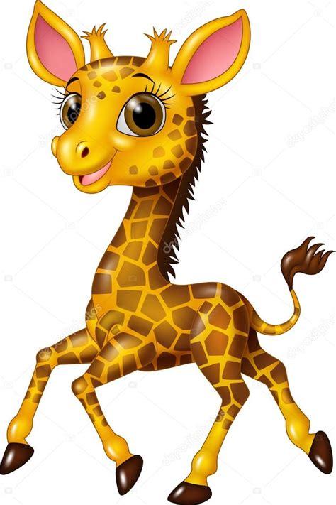 imagenes de jirafas graciosos dibujos animados beb 233 jirafa corriendo aislada sobre fondo