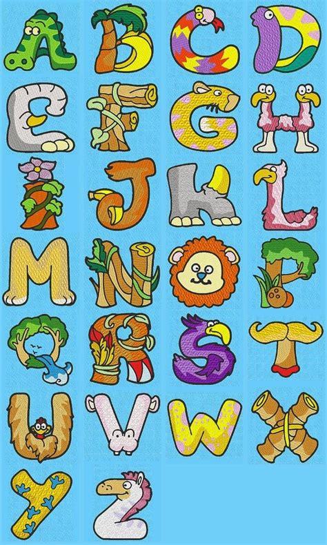 printable jungle alphabet letters machine embroidery designs dd animal alphabet set