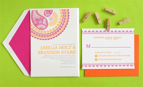 Wedding Invitations Design by Indian Pattern Letterpress Wedding Invitations