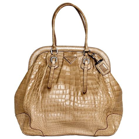 Prada Palesa 2033 Leather prada light brown crocodile bag with a vintage classic design