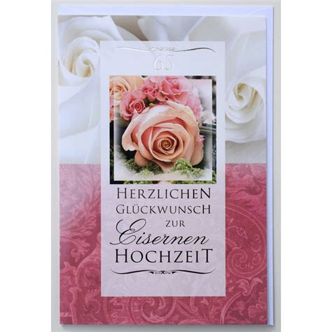 Eiserne Hochzeit by Gl 252 Ckwunschkarte Eiserne Hochzeit 65 Jahre Hochzeitstag