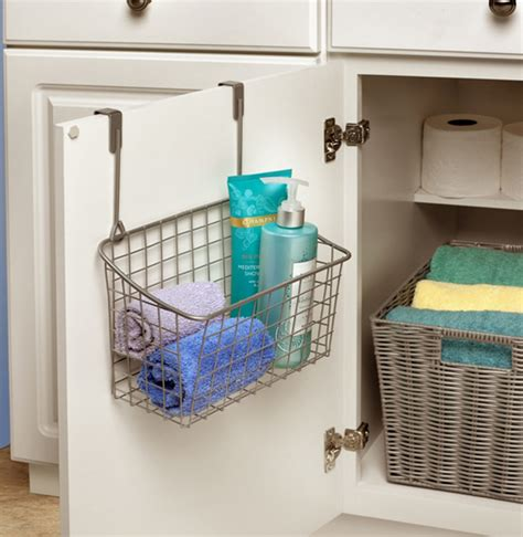 Over The Cabinet Door Basket Nickel In Cabinet Door Cabinet Door Storage Basket