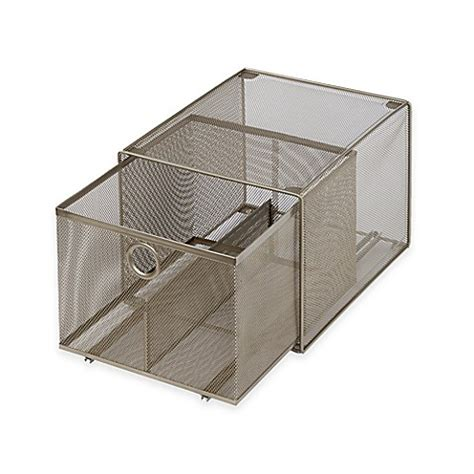 stackable storage drawers bed bath and beyond buy org large steel mesh stacking drawer from bed bath