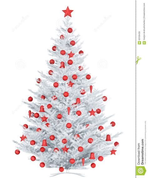 white christmas tree isolated 3d rendering stock