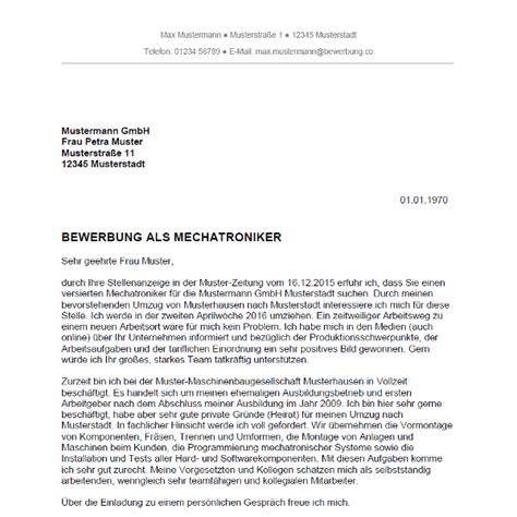 Bewerbungsschreiben Ausbildung Mechatroniker Muster Bewerbung Als Mechatroniker Mechatronikerin Bewerbung Co