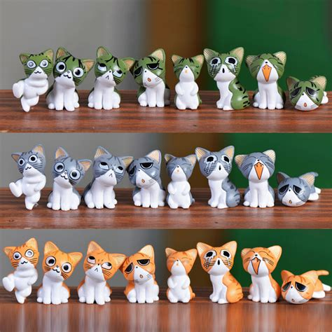 8pcs kawaii cheese cat miniature figurine fairy miniatures
