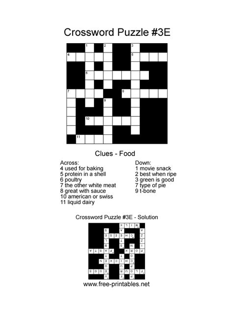 printable crossword puzzle easy printable easy crosswords search results calendar 2015