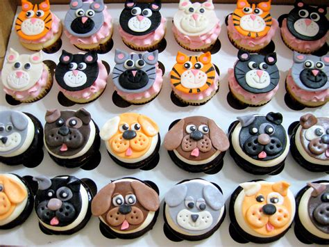puppy birthday cakes cat themed fondant cupcake toppers via sweet dreams cupcakery treats