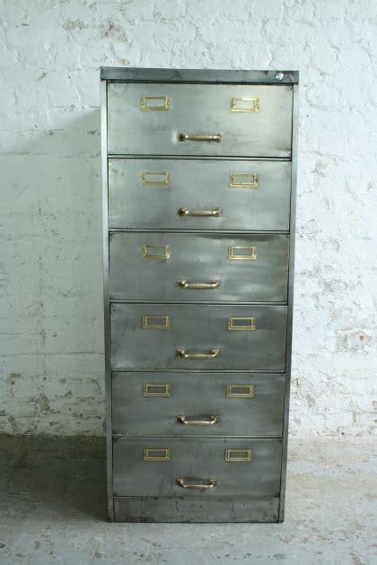 6 drawer metal filing cabinet with brass detailing