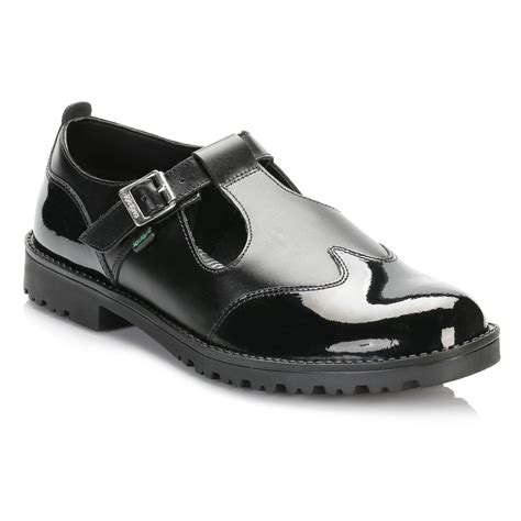 Kickers Tiranosaurus Casual Black Leather kickers womens black smart leather shoes t bar buckle casual ebay