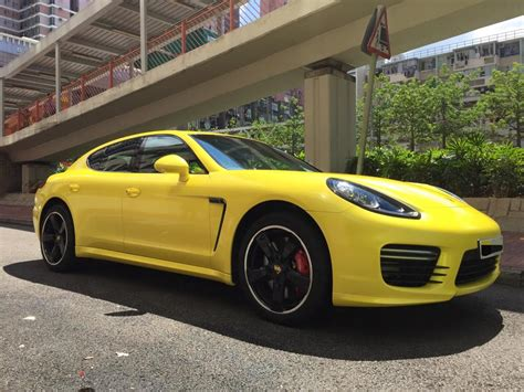 Yellow Porsche Panamera Gts By Impressive Wrap