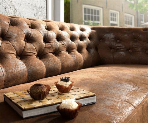 sitz sofa chesterfield braun 200x92 cm antik optik abgesteppt