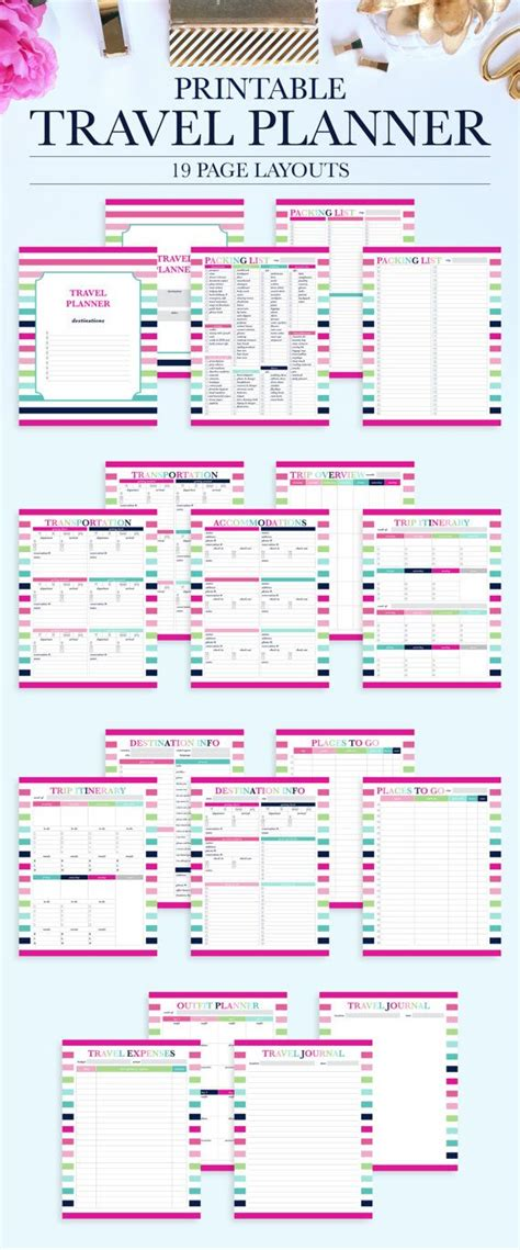 printable journey planner printable travel planner vacation planner kit par