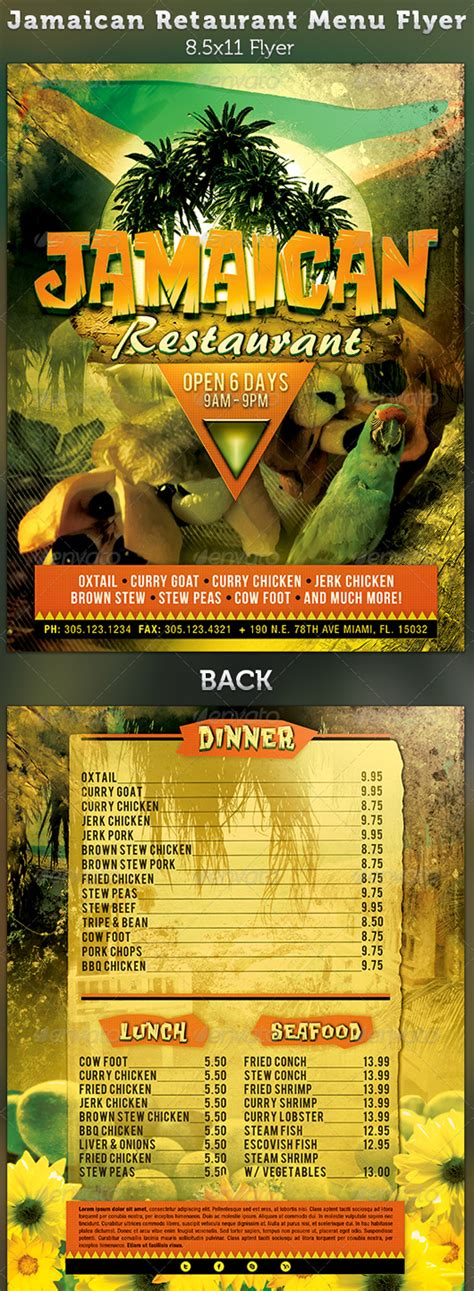 flyer design jamaica restaurant menu templates graphic designs