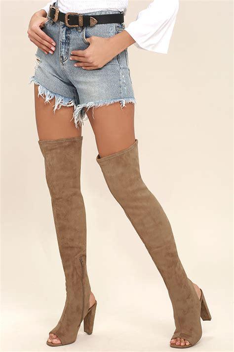 steve madden thigh high boots steve madden kimmi boots camel suede boots peep toe