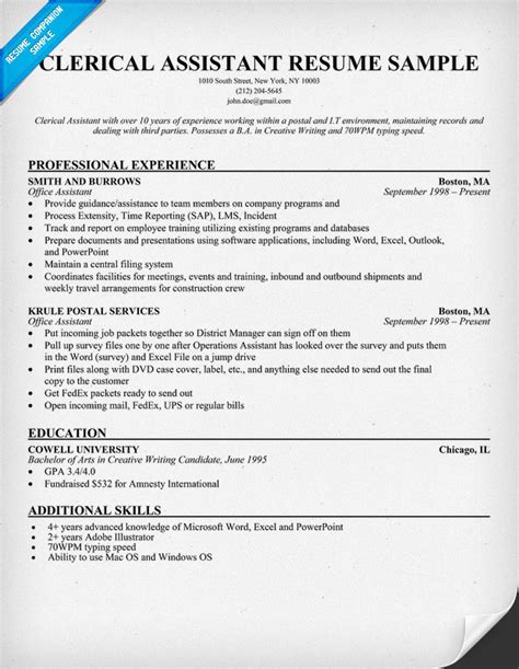 Clerical Resume by Sle Resume For Clerical Administrative Annecarolynbird