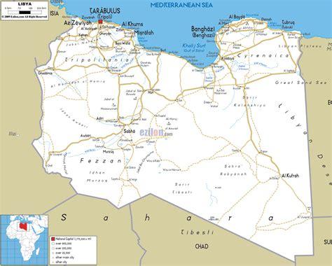 map of libya road map of libya ezilon maps