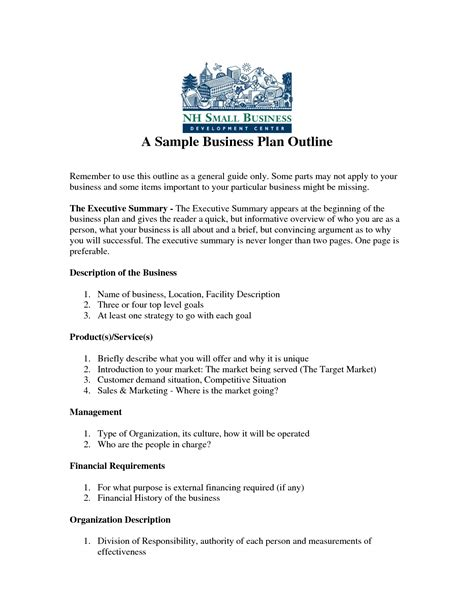 business outline template free printable business plan sle form generic