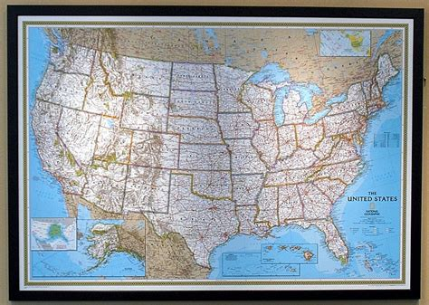 usa black wood framed map political 73x51in