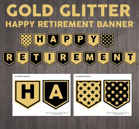 printable retirement banner printable happy retirement banner in gold