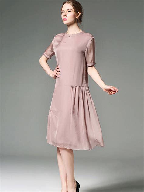 Pleated A Line Midi Dress pink pleated detail a line silk midi dress metisu