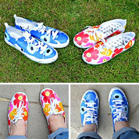 shoes diy design diy marimekko shoes pillar box blue