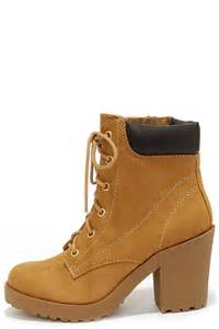 Cute tan boots high heel work boots ankle boots 36 00