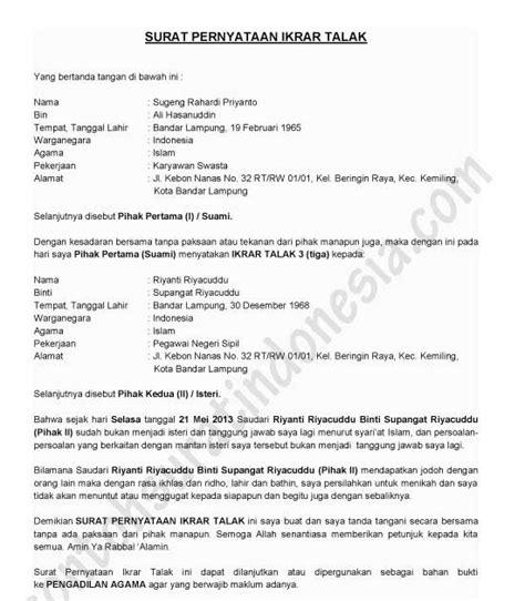 contoh surat pernyataan cerai nikah siri rumamu di