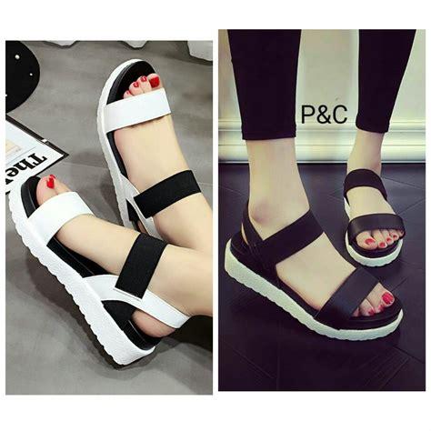 Sepatu Sandal Cewek Casual jual sepatu sandal wanita hitam putih casual