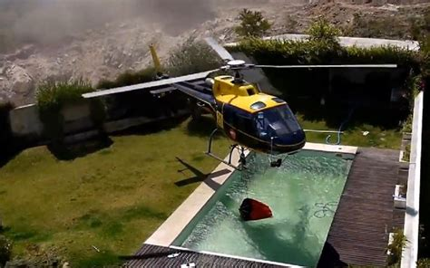 Backyard Helicopter by Helicopter Steals Pool Water To Fight Wordlesstech