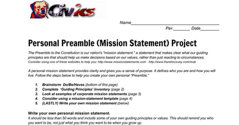 preamble template mission statement builder docs