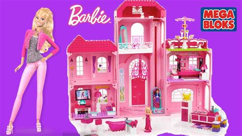 barbie doll dream house videos mega bloks barbie build n style luxury mansion with barbie dolls barbie life in the