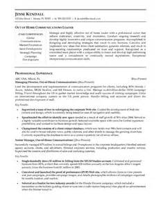 example out of home communications manager resume free