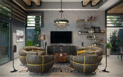 industrial living room  dubai  behance
