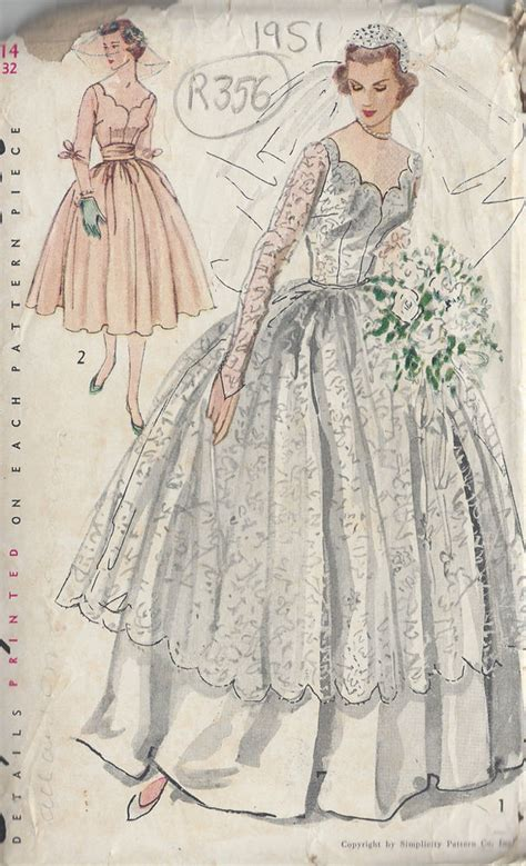 vintage pattern wedding dress 1951 vintage sewing pattern b32 quot wedding dress