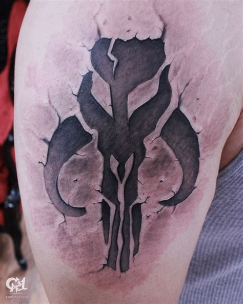 mandalorian tattoo designs wars mandalorian skull tattoosbycapone