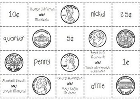 Coin Values Worksheet by Coin Cut And Paste Match And Identify Quarter Dime Nick