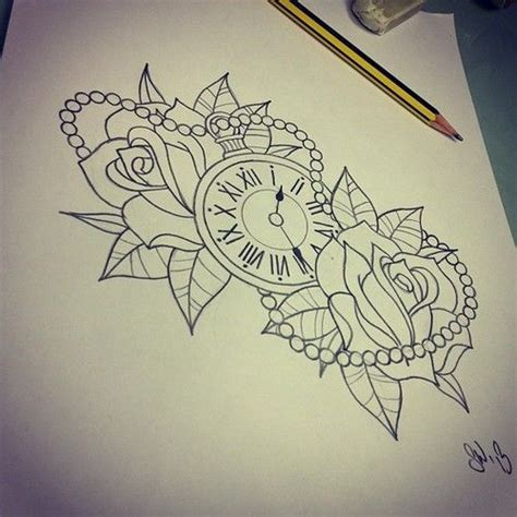 different rose tattoos design and clock buscar con with
