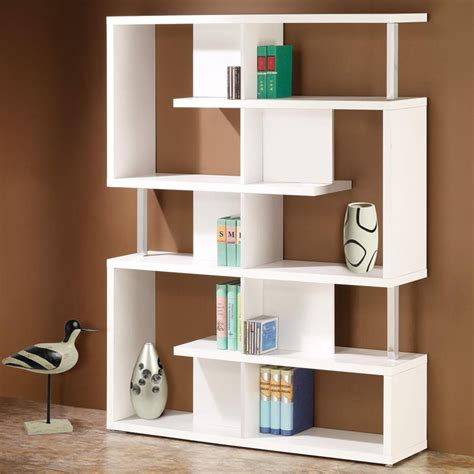 contemporary white chrome beams bookcase bookshelf display