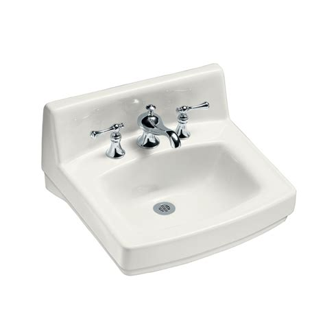 wall hung sinks lowes shop kohler greenwich white wall mount rectangular