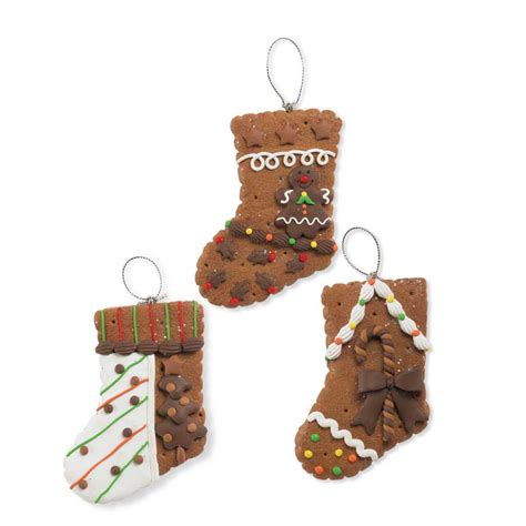 gingerbread stocking christmas ornaments set of 3